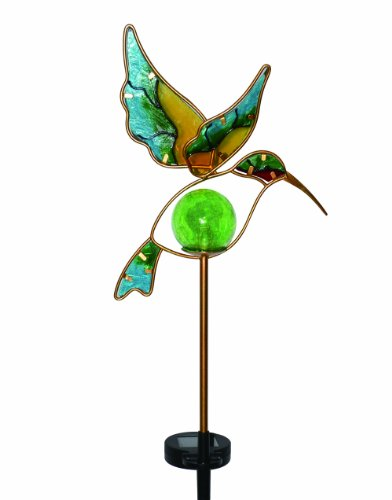 Moonrays Solar Powered Garden Glass Hummingbird Stake LED
