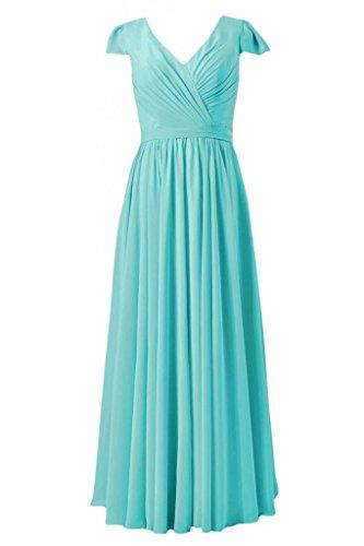 Daisyformals Long Cap Sleeves Chiffon Bridesmaid Dress(Bm5192L)- Tiffany Blue