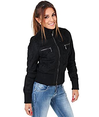 KRISP Womens Suede Bomber Cropped Waist Jacket at Amazon