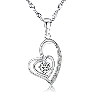 Freeman Jewels Sterling Silver Heart Necklace Chain Round Zirconia Diamond Open Double Heart Pendant 18
