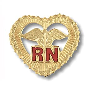 Prestige Medical Emblem Pin, RN (Filigreed Heart)