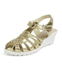 Kittens Girls Gold Synthetic Wedge Sandals (KTG249) - 1 UK
