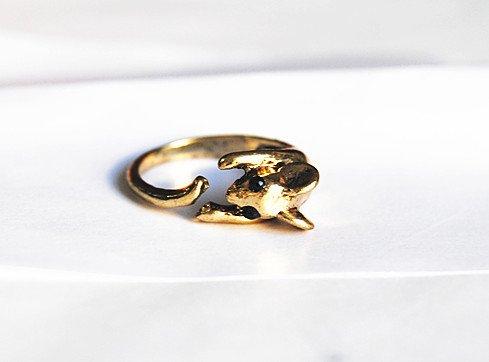 JE156 Tier Form Ring, Nette Maus Ring, Retro Ring, öffnen Ring