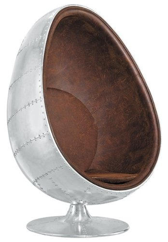 SQUARE DECO Fauteuil Oeuf Egg Chair AVIATOR VINTAGE Aluminium Clouté