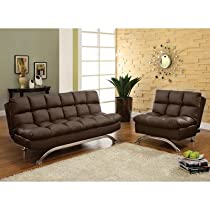 Big Sale Aristo Bi-Cast Leather Convertible Sofa and Chair Set Color: Dark Espresso