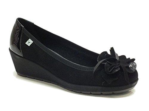 Decolleté Cinzia Soft per donna in camoscio nero con zeppa (Taglia 36)