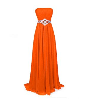 Fashion Plaza Strapless Bridesmaids Evening Dresses D004 (US4, orange)