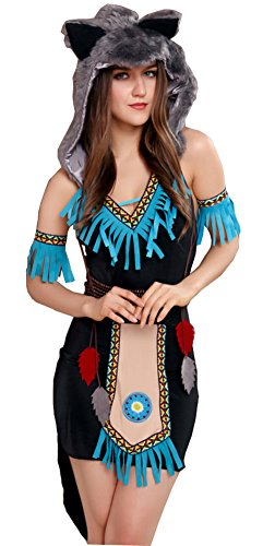 Moonight Women's Sexy Native American/Indian Costume Set with Furry Hat