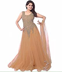 Clickedia Women's Net Gown (Beige net gown _Beige_)