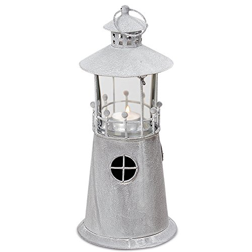 The Americana Sailor's Delight Lighthouse Tea Light or Votive Candle Holder, 12 ¼H x 14D inches, (31H x 14D cm), Handcrafted of Iron, Beachy Gray Finish, Plus Glass Candle Cup, By Whole House Worlds (Tabletop Candles Hurricane Lamps compare prices)