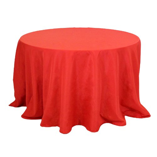 Koyal Wholesale Round Polyester Tablecloth, 90-Inch, Red front-47952