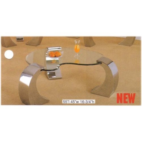 Bevelled Kidney Shaped Coffee Table With Chrome Finish