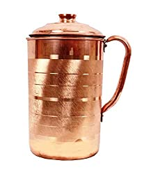 AsiaCraft Handmade Designer Best Quality Pure Copper Jug Pitcher Capacity 1.2 Liter for Kitchen Home Ware Restaurant Ware Hotel Ware Home Decorate for Good Health Benefits Indian yoga Ayurveda