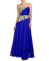 SK Clothing Blue Color Gerogette Mirror & Golden Zari Work Hand Embroidered Semi_Stiched Long Dress For Women
