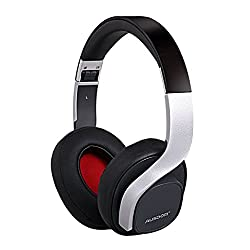 Ausdom M08 Lightweight Stereo Wired Wireless Bluetooth Over Ear Headphones Headsets with Deep Bass Built-in Mic for Calling Music - Black