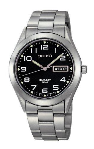 Seiko Men's SGG711 Silver Titanium Quartz Watch with Black Dial