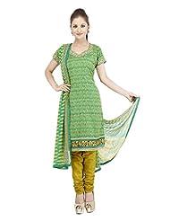 Utsav Fashion Women's Green Cotton Readymade Churidar Kameez-Large - B015UDPSJY