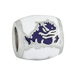 Teagan Collection Purple Super Frog on White Bead - Texas Christian University