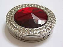 Red Ruby Crystal Surrounded by Diamonds Foldup Bag Purse Hook Hanger