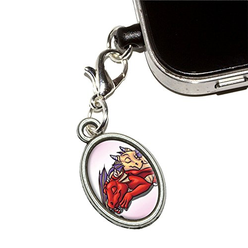 Dragons Sleeping - Cute Fantasy Mobile Cell Phone Jack Anti-Dust Oval Charm Fits Iphone Ipod Galaxy