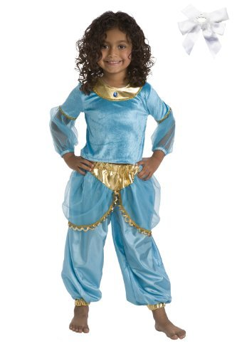 Turquoise Arabian Princess Dress Up Costume with Princess Hairbow
