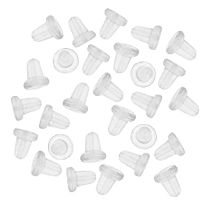 Beadaholique 144-Piece Clear Rubber Bullet Clutch Earring Safety Backs