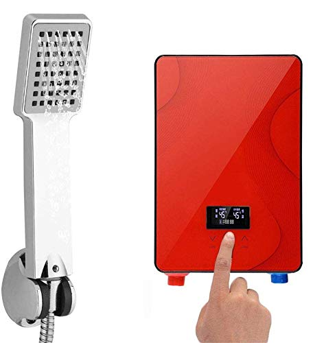 Tankless Water Heater, 220V 6500W Portable Digital Tankless Instant Electric Hot Water Heater Shower System for Home Bathroom Shower (USA Stock) (Red) (Color: Red)