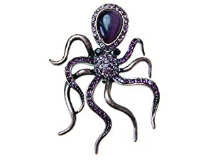Amethyst Purple Crystal Rhinestone Jewel Vintage Inspired Octopus Pin Brooch