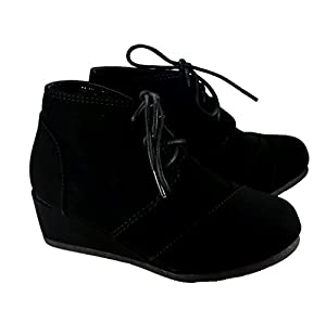 TOP MODA Girls Lace Up Ankle Bootie Wedge* Lightweight Kids Boots (11, Black Suede)
