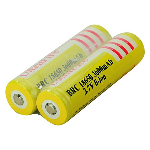 UltraFire BRC 18650 3600 mAh 3.7V Rechargeable Protected Lithium Battery-Yellow(2-battery pack) ultrafire 2400mah 3 7v protected 18650 cell