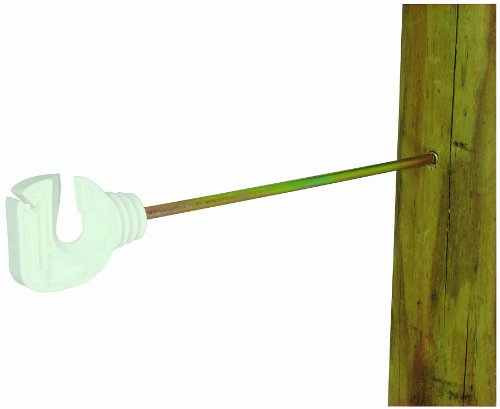 Field Guardian Wood Post 9-Inch Screw-In Insulator For 1-Inch Tape/Rope, White