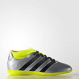 adidas Performance Boys\' Ace 16.3 Primemesh in J Skate Shoe, Silver Metallic/Black/Electricity, 5 M US Big Kid