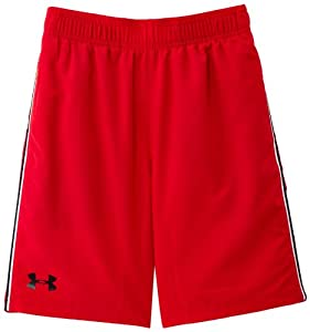 Under Armour Edge Short long Garçon Rouge/Noir/Noir FR : 10 ans (Taille Fabricant : YMD)