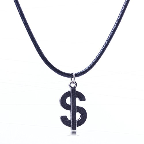 Silver Dollar Sign Symbol Dangle Charm Pendant Black Rope Leather Cord Necklace