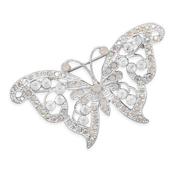 Clear Swarovski Crystal Butterfly Fashion Pin