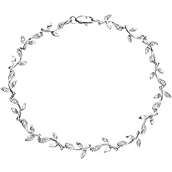 Naava Damen-Armband Glieder 375 Weißgold rhodiniert Diamant (0.10 ct) weiß Rundschliff 1.85 cm - PBC02655W