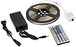 ADX 16.4FT Waterproof Flexible Strip Light Kit, 300 Color Changing RGB LEDs w/ IR Remote Controller and 12V5A Power Supply