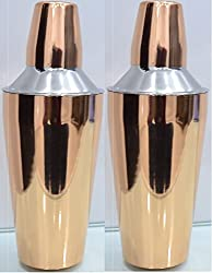 SSSILVERWARE STAINLESS COPPER PAINTED STEEL COCKTAIL SHAKER -750 ML set of 2 pcs