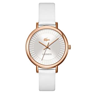 Lacoste nice Silver Dial White Leather Ladies Watch 2000715