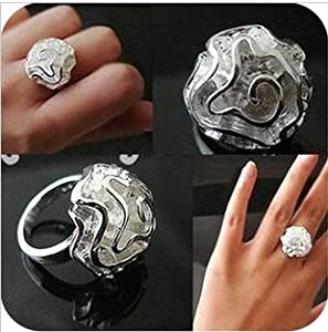CosmoCow JE239 Silver Corsage Flower Ring, Silver Fashion Ring Jewellery, Adjustable Size