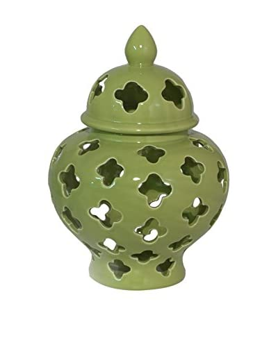 Three Hands Pierced Jar with Dome Lid, Green
