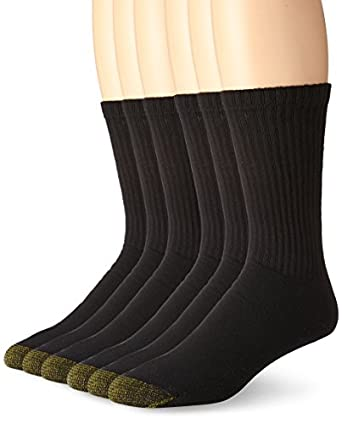 Gold Toe Crew Sport Socks 6-Pack Extended Sizes, One Size, Black
