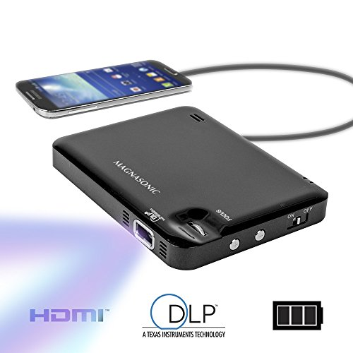 Magnasonic LED Pocket Pico Video Projector, HDMI, Rechargeable Battery, Built-in Speaker, DLP, 60″ Hi-Resolution Display for Streaming Movies, Presentations, Smartphones, Tablets, Laptops (PP60)