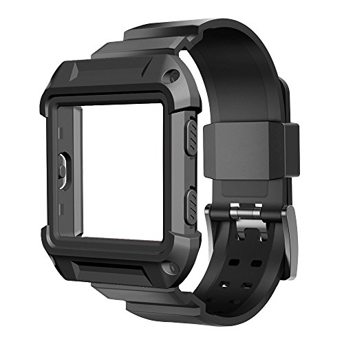 Fitbit Blaze Accessory, UMTELE [Rugged Pro] Resilient Protective Case with Strap Bands for Fitbit Blaze Smart Fitness Watch (Black) (Resilient Beauty Advanced compare prices)