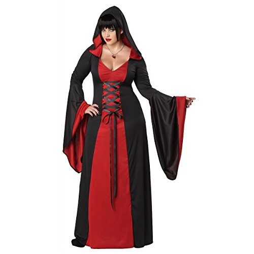 [GSG Hooded Robe Plus Size Adult Womens Priestess Sorceress Vampire Costume] (Scary Bee Costume)