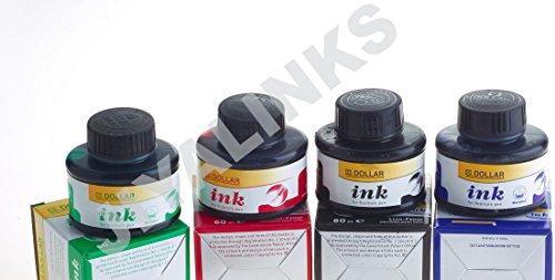 Dollar Lot de 4 flacons d'encre pour stylo-plume : Noir, Bleu, Vert, Rouge, 60 & ml