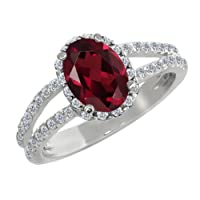 1.88 Ct Oval Red Rhodolite Garnet White Diamond 14K White Gold Ring