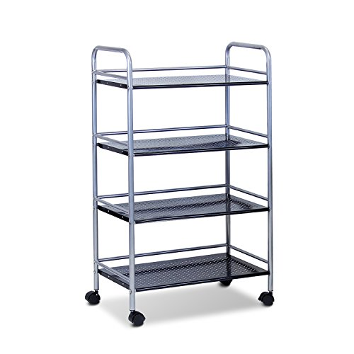 Furinno Fnbj-22081 Xiannan L60 Metal 4-Tray Rolling Cart, Black back-523383