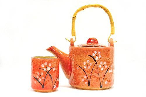 Cherry Blossom Asian Style Teapot 5 Piece Ceramic Set Red