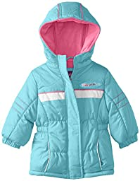 Pink Platinum Baby Girls\' Athletic Puffer, Turquoise, 24 Months